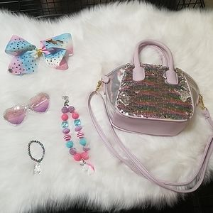 Girl's Unicorn Gift Lot Betsey Purse Jojo Bow 6 8